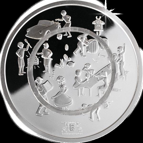 Polymermedaille Lebensart Vorderseite mit transparentem Polymerring